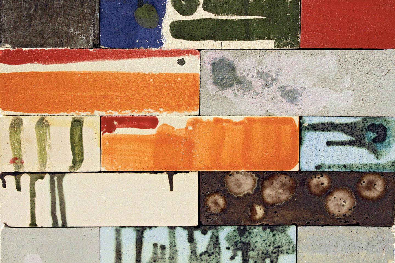 detail, Sleepless Color , 2009-10. unglazed fired ceramic, glazed kiln bricks, painted hardwood. 19 x 18 1/8 x 60 3/8 in.