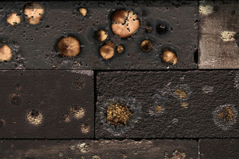 detail, Because of the Wind , 2010. glazed ceramic, steel, glazed kiln bricks. 60 3/4 x 14 x 14 in.