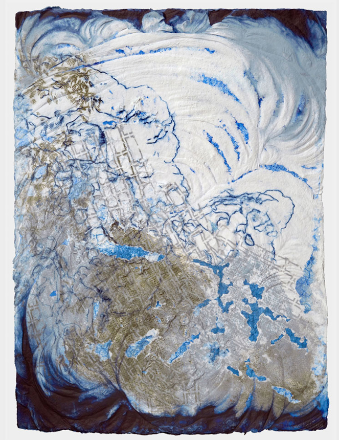 Rock Winds , 2009. cast cotton pulp with pigmented linen pulp. 30 x 22 in.