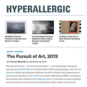 Hyperallergic - The Pursuit of Art, 2013