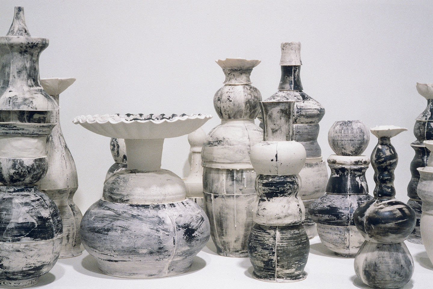detail,  Skyline , 2002. cast porcelain, ceramic pigments. approx. 13.5 feet x 13 inches.