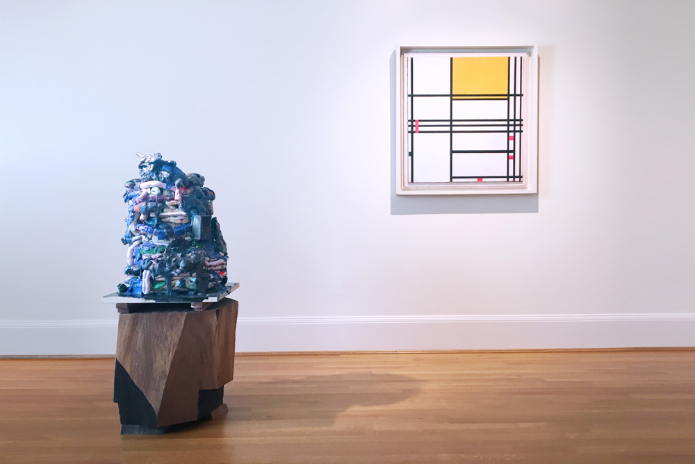 Arlene Shechet, Best Behavior , 2014. Glazed ceramic, kiln shelf, painted hardwood. 45.5 x 20 x 20 inches.  Piet Mondrian, Painting No. 9 ,  1939-42. Oil on canvas. 31.375 x 29.25 inches.