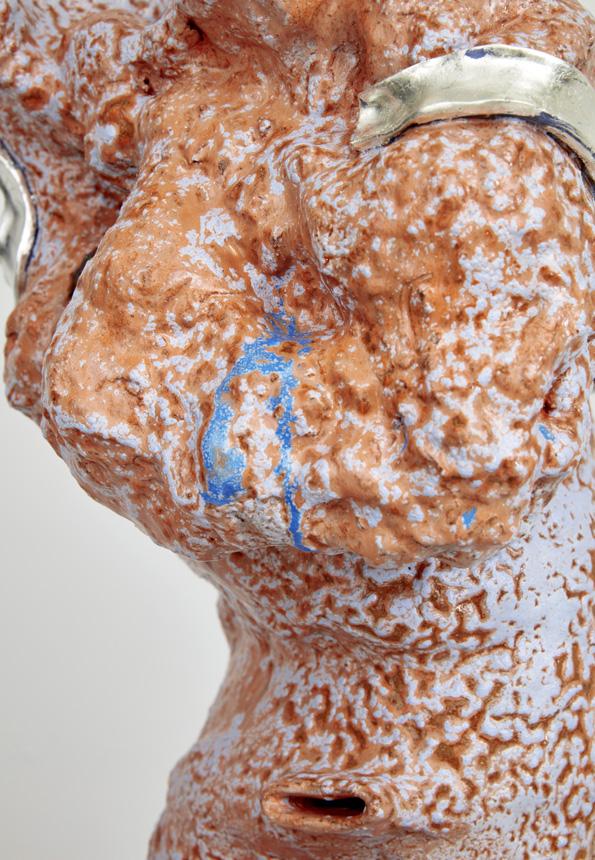 Arlene Shechet, detail,  Go Figure  , 2016. Glazed ceramic, gold, steel. 72.62 x 16 x 13.5 inches.