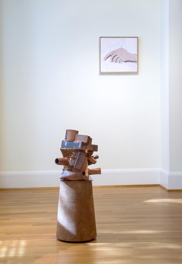 Arlene Shechet, Tumbling Through Time ,  2016. Glazed ceramic, hardwood, aluminum, steel. 35 x 18 x 17 inches.  Philip Guston,  Untitled  , 1968. Acrylic on panel. 18 x 20 inches.