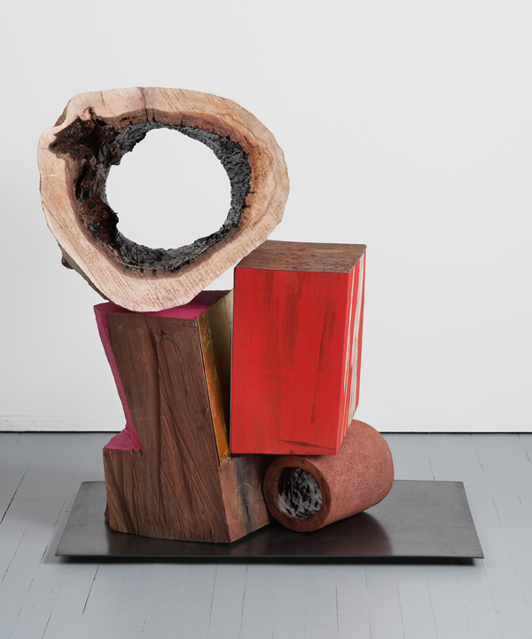 Double Oculus , 2019, glazed ceramic, hardwood, steel, gold leaf, paint. 36 x 35 x 28 inches.