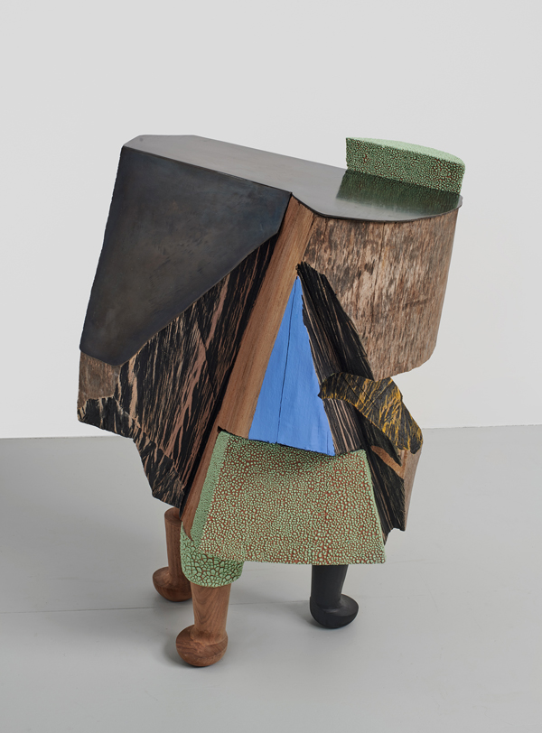 Ever However , 2019., glazed ceramic, wood, steel, paint, silver leaf, 31 x 19 x 22 inches.