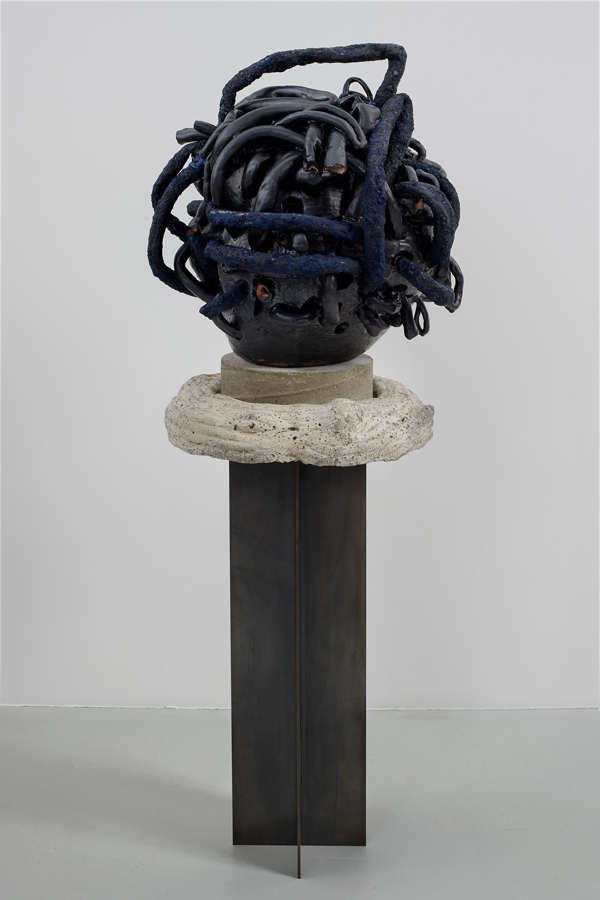 Too, Too , 2019, glazed ceramic, hand-molded cast concrete, steel, 68 x 22 x 19 inches.