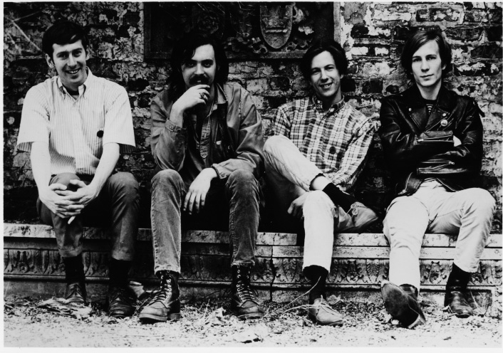 In Shock! Just back from our return from SF during the Summer of Love. The Siegel-Schwall Band (left to right) Russ Chadwick, Jim, Me, Jack Dawson.    Behind Mother Blues in Chicago