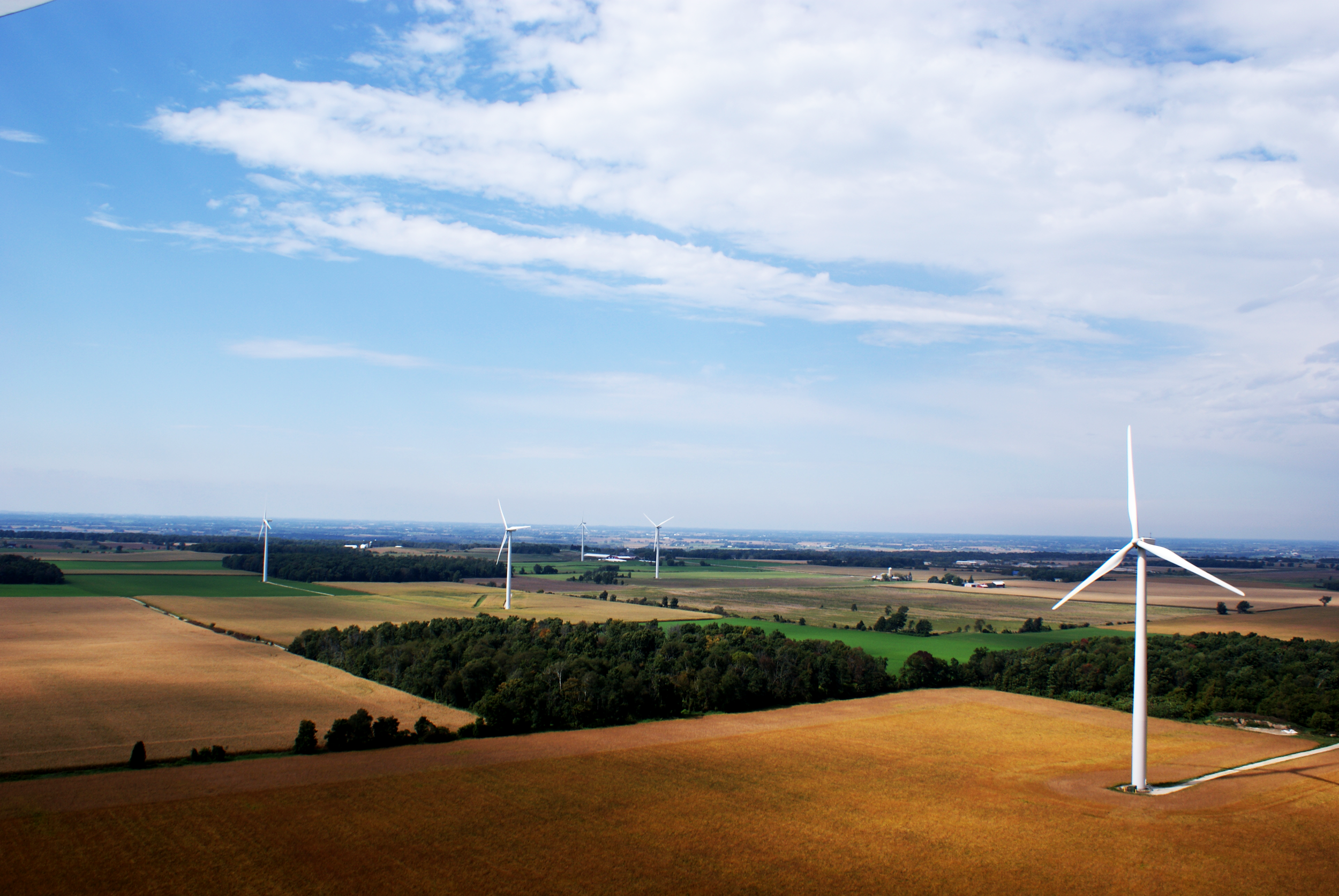 Part of one of a cluster of three wind facilities in southeastern Wisconsin, USA. Photo by Steve Grodsky.