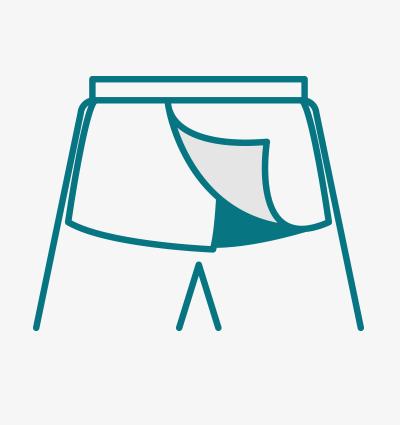 Open Back Pants  (Back View) Full Overlap