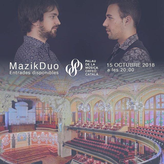 ‼️En dos semanas daremos el concierto más importante de MazikDuo hasta la vista! El Palau de la Música Catalana es un sueño para cualquier músico y poder tocar nuestro Jewish Life en este emblema va a ser increíble!!!! 😱 Paso a paso MazikDuo va consiguiendo sus objetivos y estaremos encantados de veros en este evento tan especial! Podéis comprar vuestras entradas en el siguiente enlace: https://bit.ly/2OqPGT6 Quedan pocas!! @tempsrecord @palaumusicacat @tologenestar #barcelona