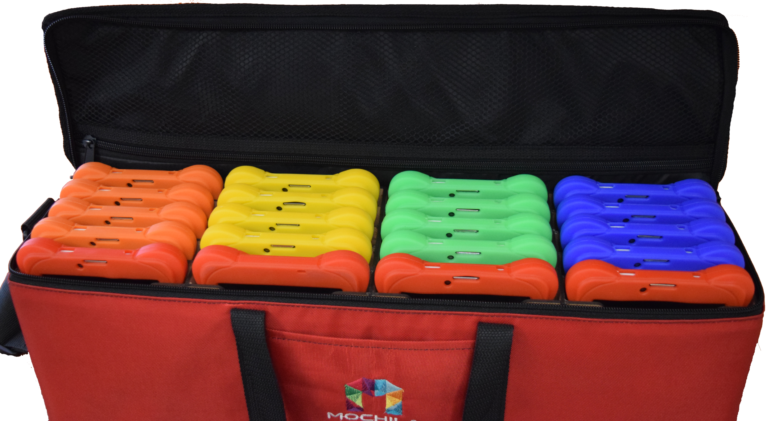 Bolso portátil de 20 Unidades - El bolso portátil, permite llevar hasta 20 Mochilas Digitales, elaborado con material resistentes, con depósitos de madera ligera, que permiten que sea cómodo, fácil y práctico.