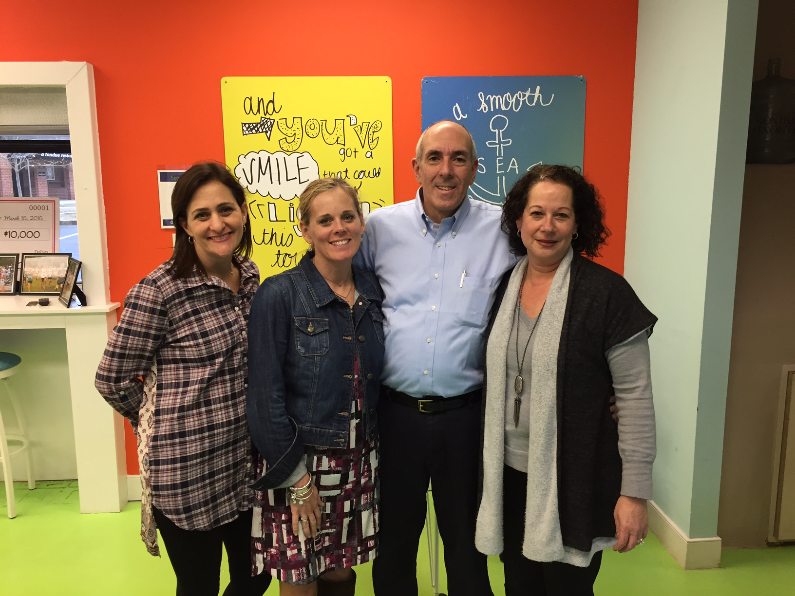 Albert Negrin pictured with (from left) Samantha Mier, Grace Gallagher, & Nannette Shor