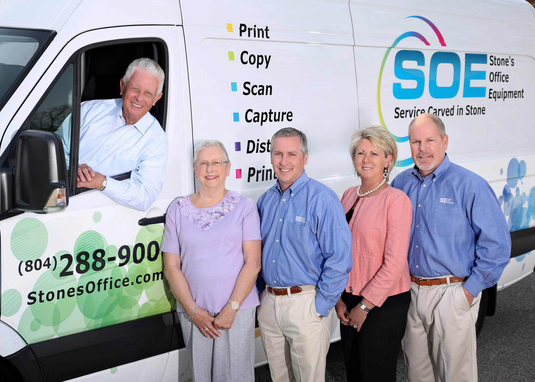 Pictured from left, Frank Stone (in van), Sally Stone, Sam, Tina Berry and Mike Berry