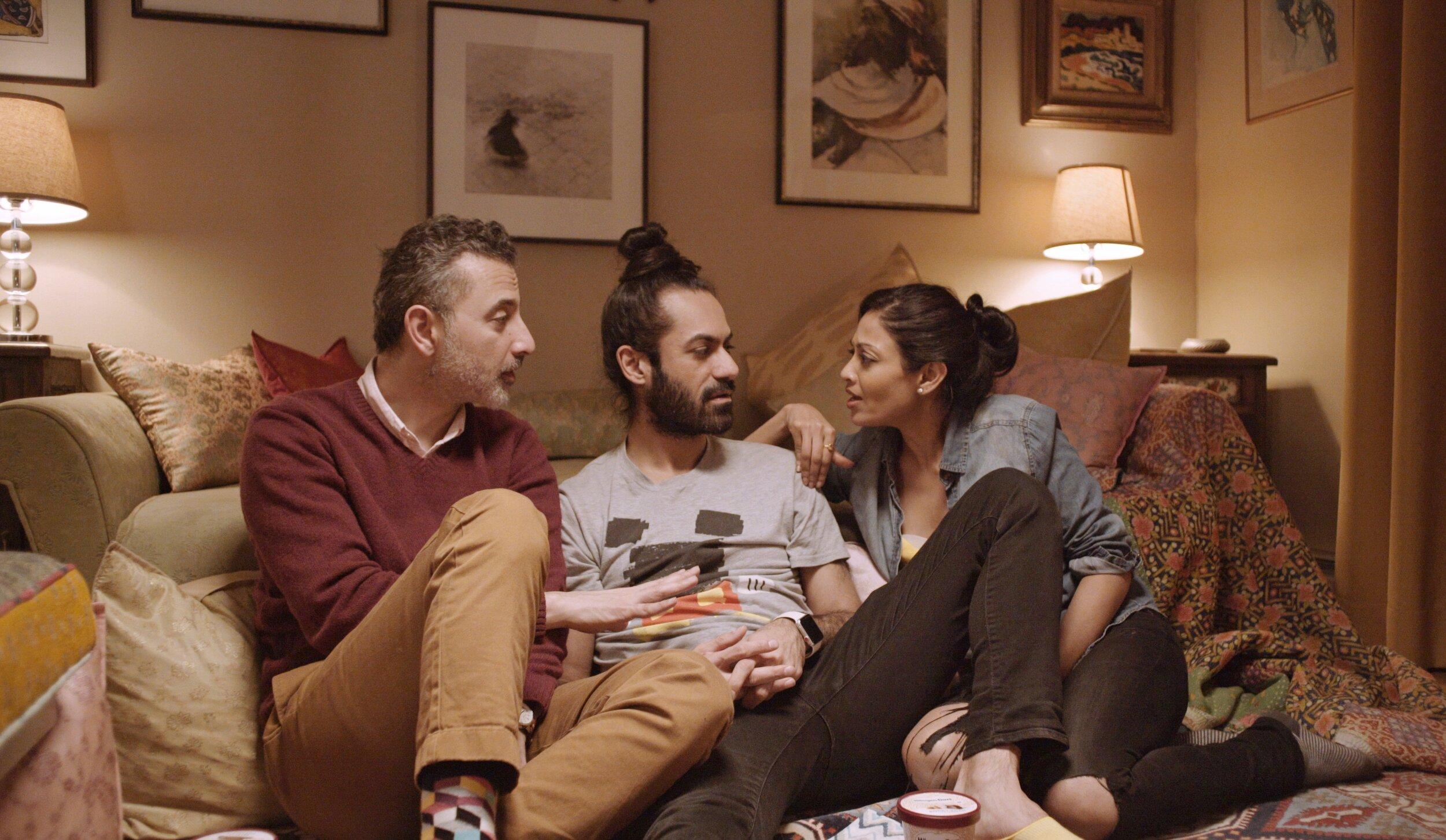 Agency Still - Saks Afridi as Saif, Sadiq Samani as Kartik and Ami Sheth as Anjali.jpeg