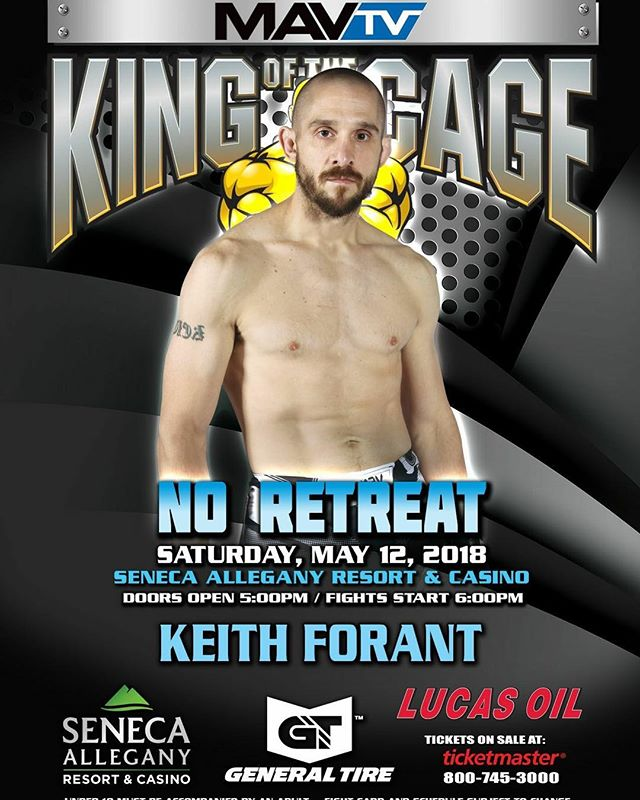 Good luck to @kcforant who looks to improve his Professional MMA record to (2-0) tomorrow!  Choke some necks Keith!