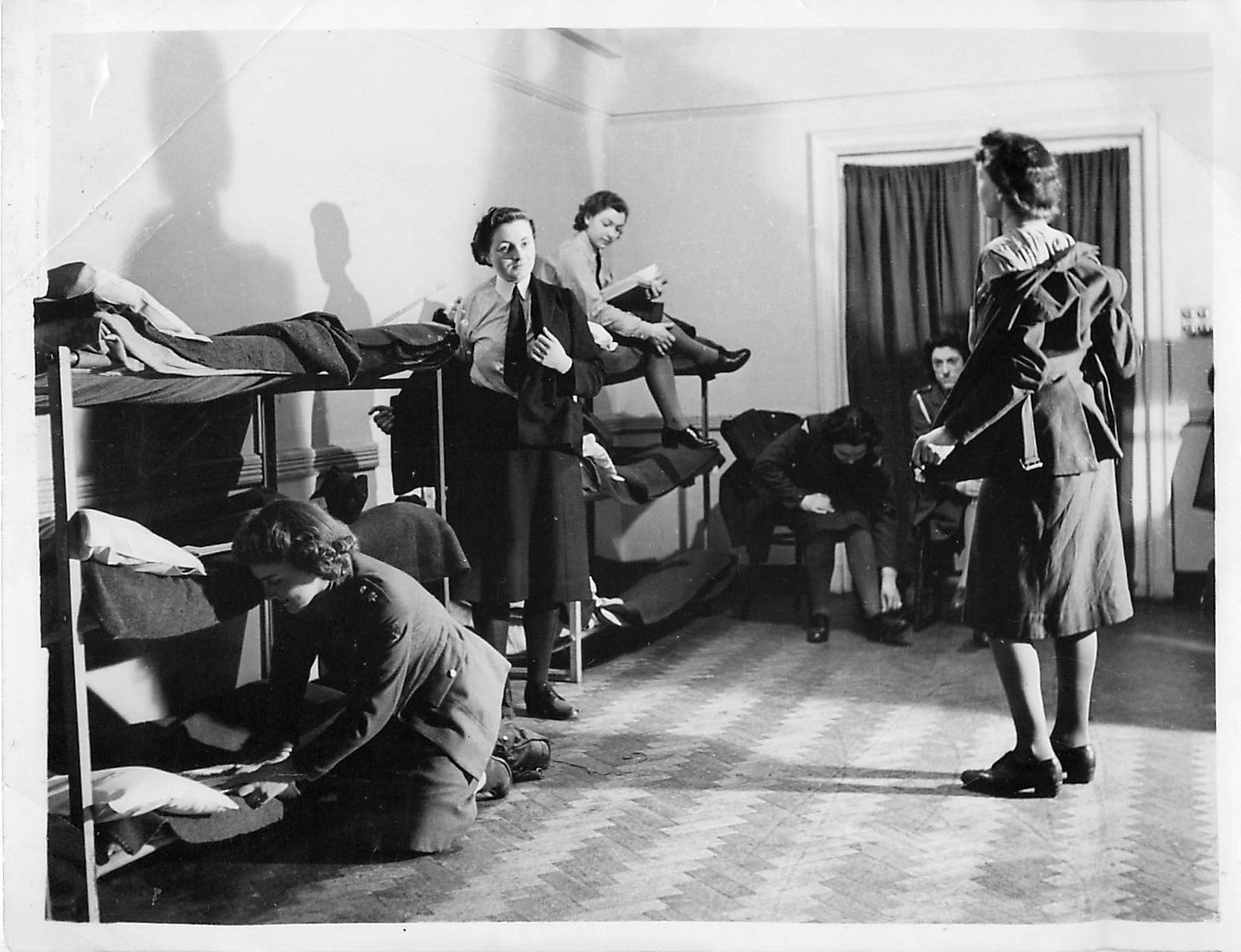 """""""YWCA January 1942 Blue Dining Rooms with bunks ready for service girls"""""""