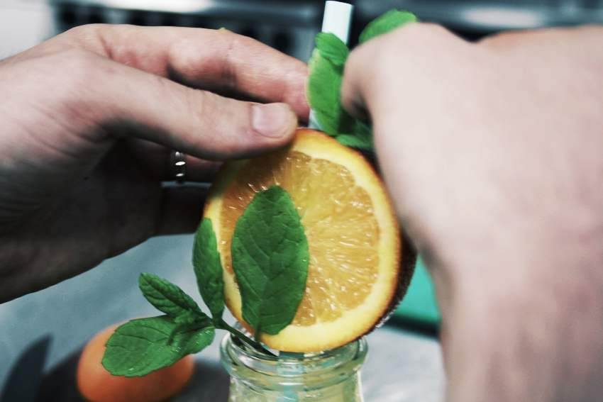 the cafe preparing juice for an event