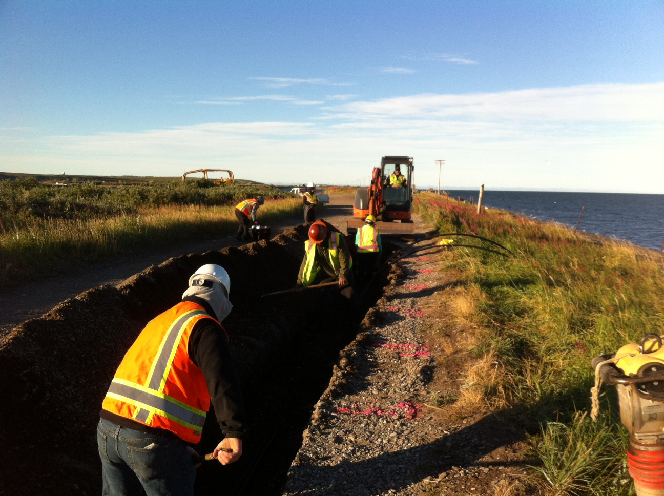 Fiber trench with archaeological monitoring in Kotzebue (Aug 2013)