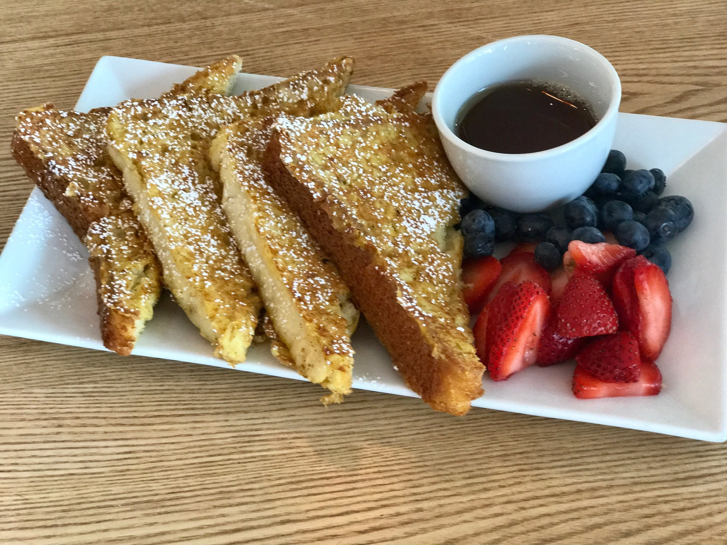 French toast so good you would never guess they are gluten-free. Served with real Vermont Maple Syrup!!