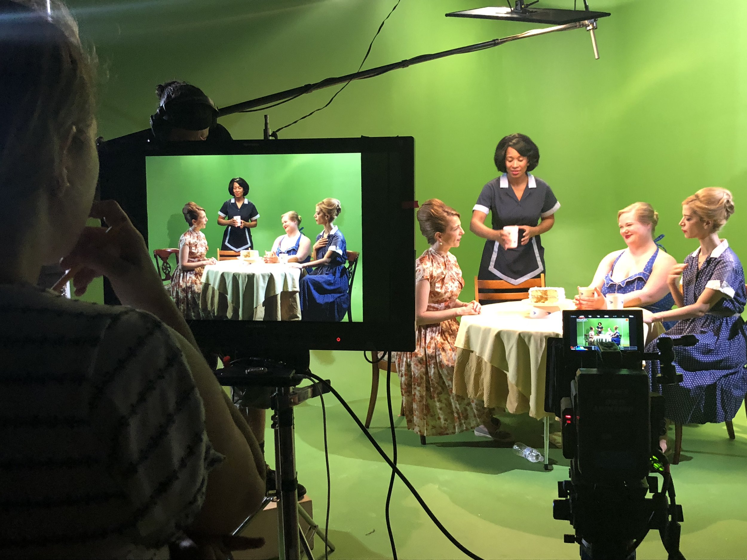 On set filming  Beckys Through History . L-R: Jessica Daniels (director), Eevin Hartsough,Malikha Mallet, Jen Ponton, Ilana Becker.