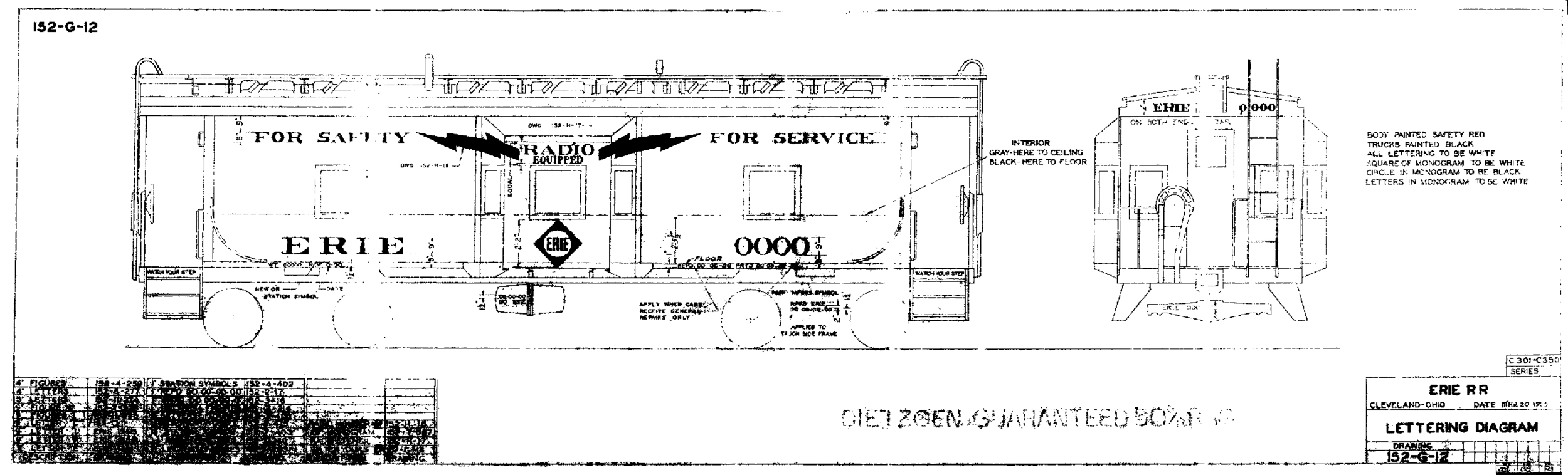 Paint diagram for cabooses Nos. C301-C350.  (Paul Tupaczewski collection)