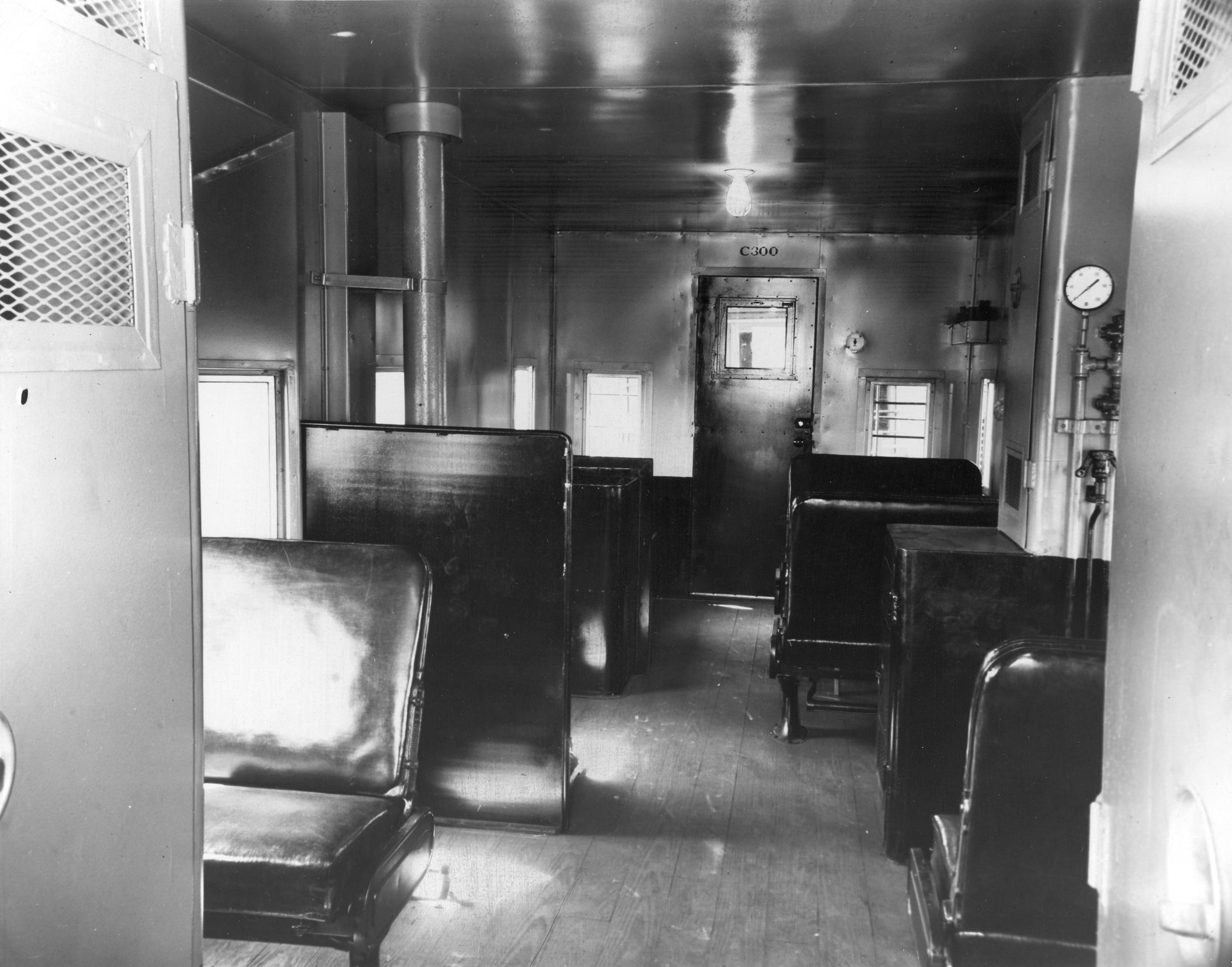 1952 interior photo of prototype caboose No. C300.  (Erie Railroad photo)