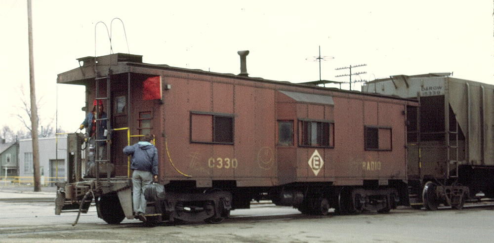 No. C330 was assigned to the Marion, OH area under Erie Lackawanna, where it is seen in this April of 1972 photo. It has been repainted into its first EL paint scheme.  (Lynn Roberts photo)