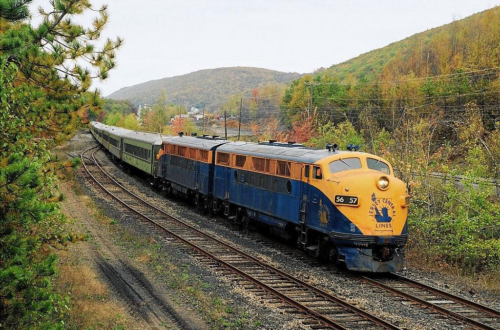 Restored as CNJ No. 56, Tri-State's F3 leads an October 17, 2004 excursion through Nesquehoning, PA. (William Bokeko photo)