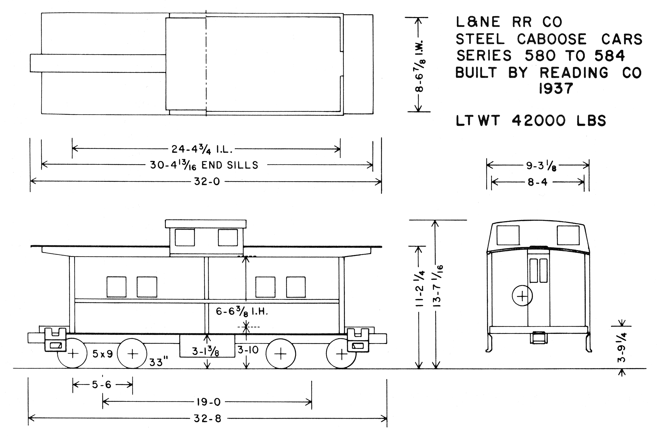 Drawing for L&NE caboose No. 580.  (Eric A. Neubauer drawing)