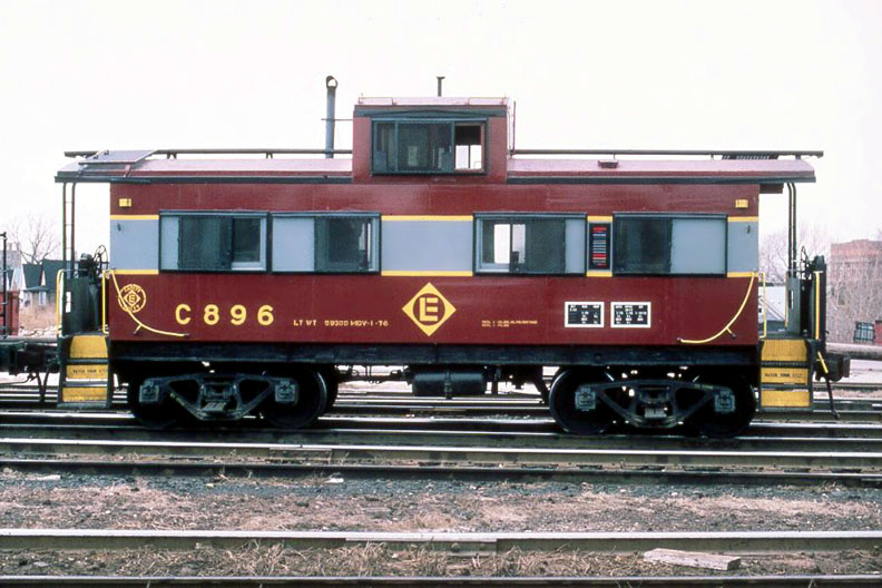 Our No. 896 was painted in Erie Lackawanna's final caboose paint scheme, and is viewed here circa 1974. (Bill Weibel photo,Joseph Testagrose collection)