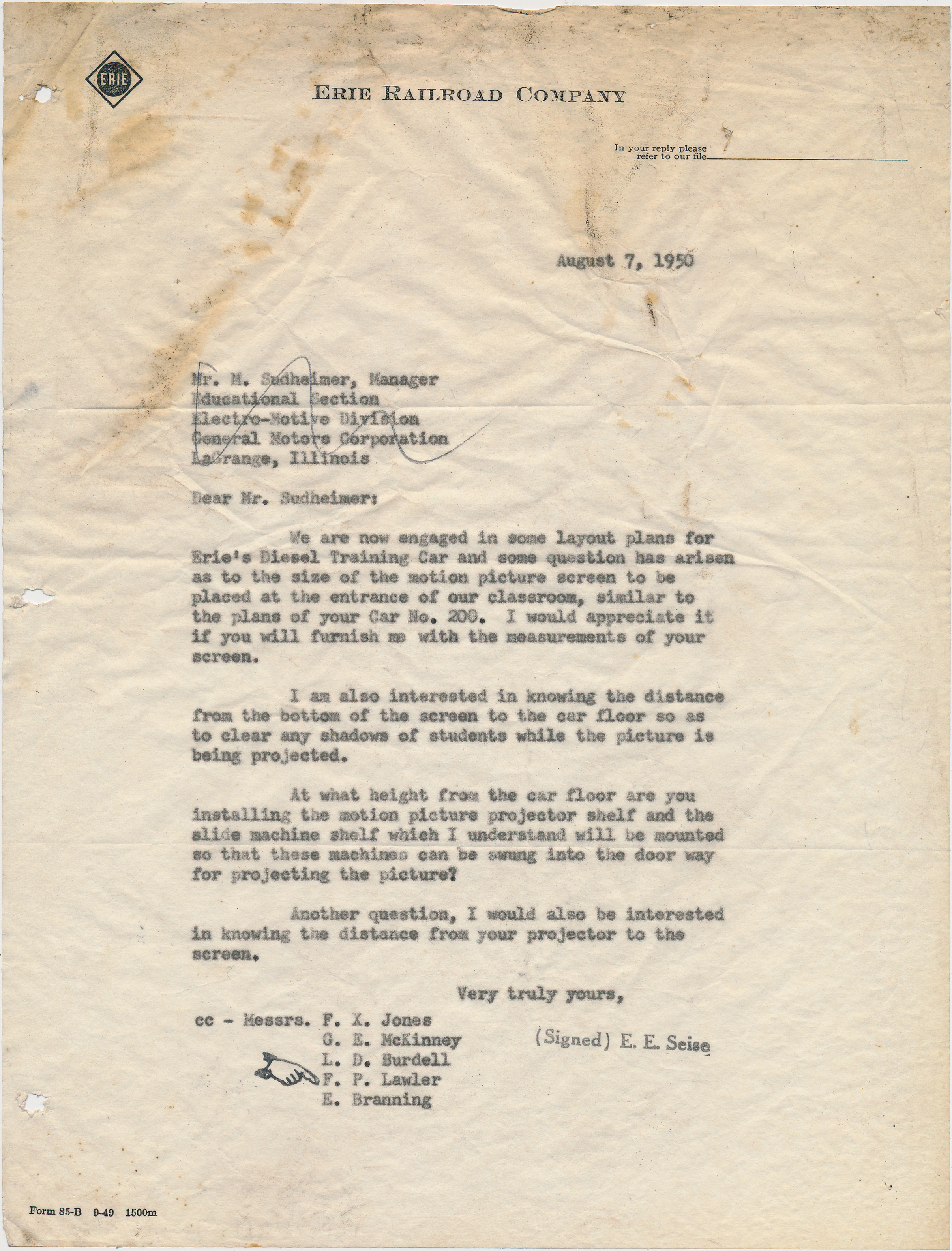 This August 7, 1950 letter was written by E. E. Seise of the Erie to M. Sudheimer of the EMD Educational Section, inquiring about potential screen and projector setups for Erie #10.  (Tri-State Railway Historical Society collection)