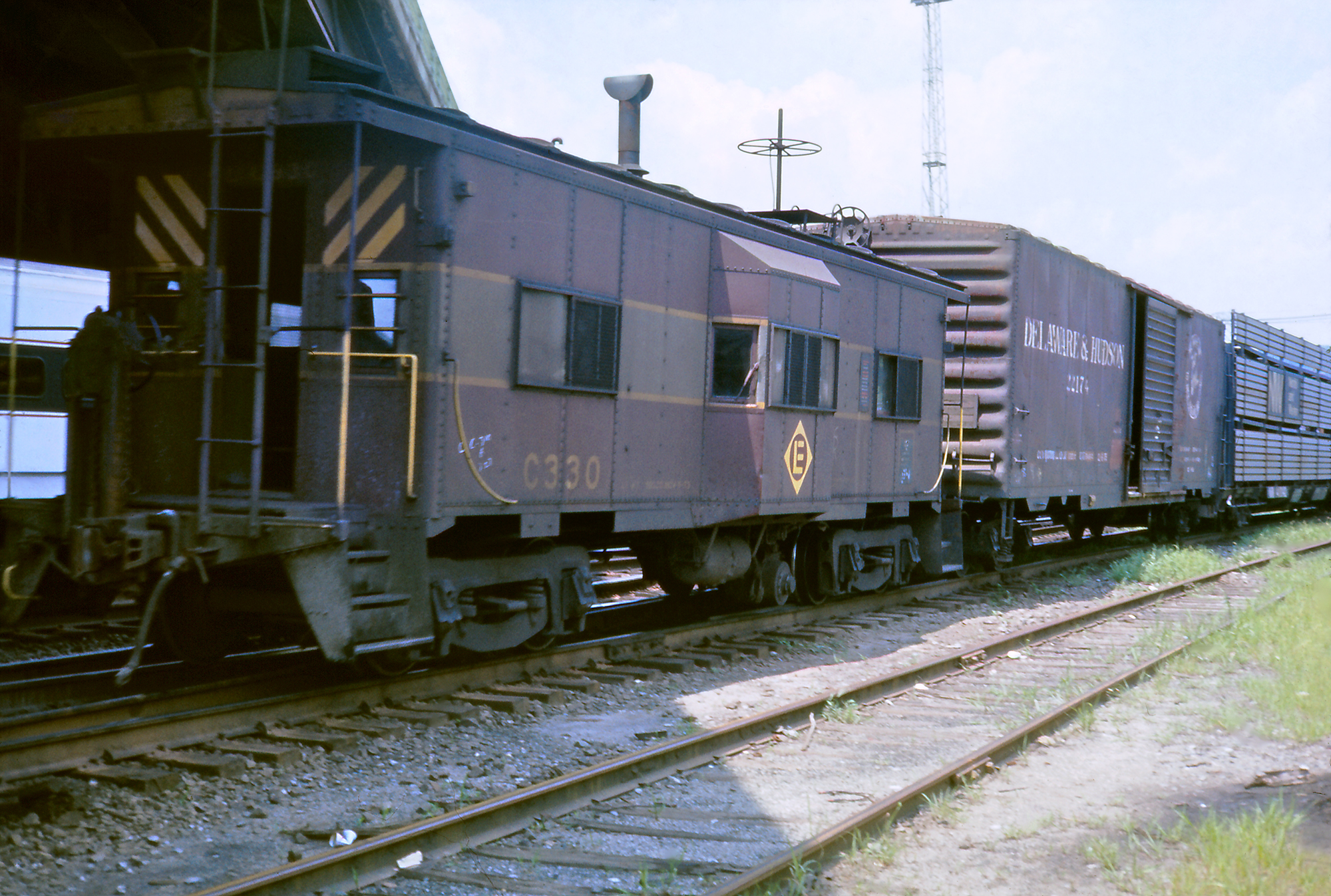 Just after the Conrail merger, this August 1976 view finds No. C330 in Suffern, NY, still in its Erie Lackawanna paint job.  (Rudy Garbely collection)
