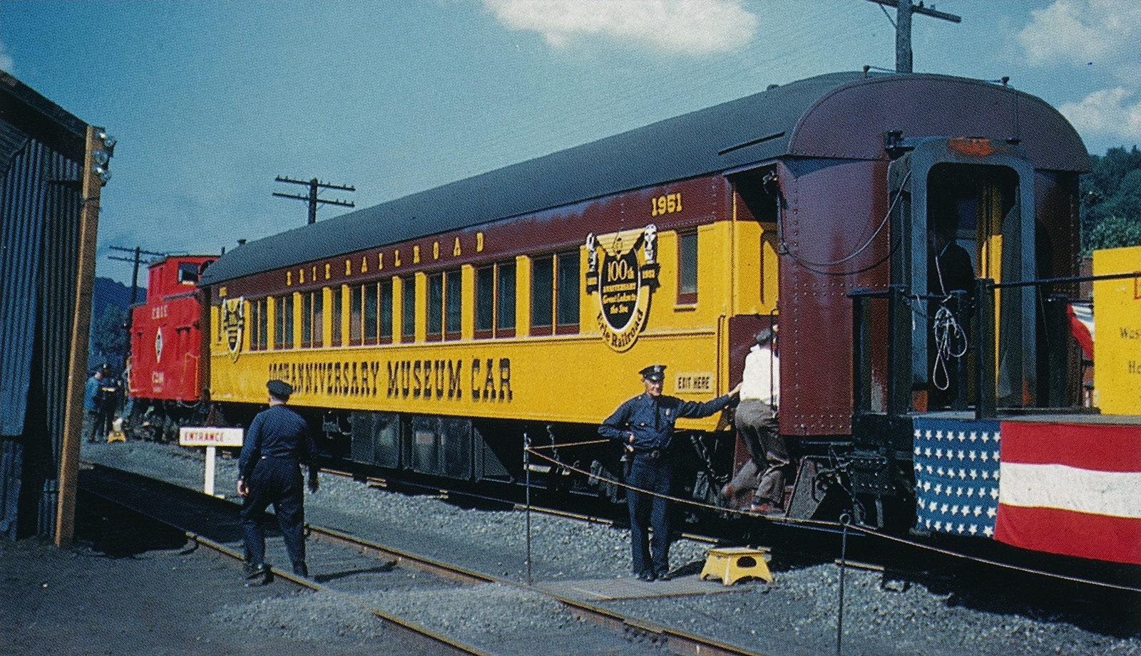 In early 1951, Erie coach #2204 was stripped of its 84 seats and turned into a museum car to tour the Erie system in celebration of the railroad's 100th anniversary. The car is viewed here on display to the public later that year.  (John Benton collection, courtesy Morning Sun Books –  Erie/DL&W Color Guide to Freight and Passenger Equipment , page 13)