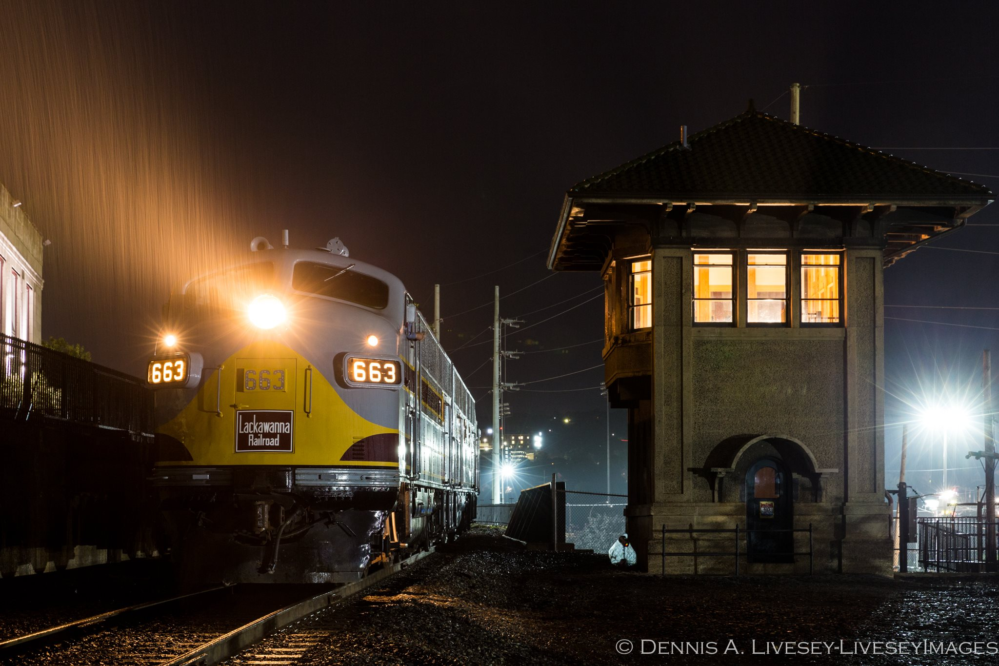 Lackawanna 663 poses alongside Mattes Street Tower in Scranton. Photo courtesy of Dennis Livesey