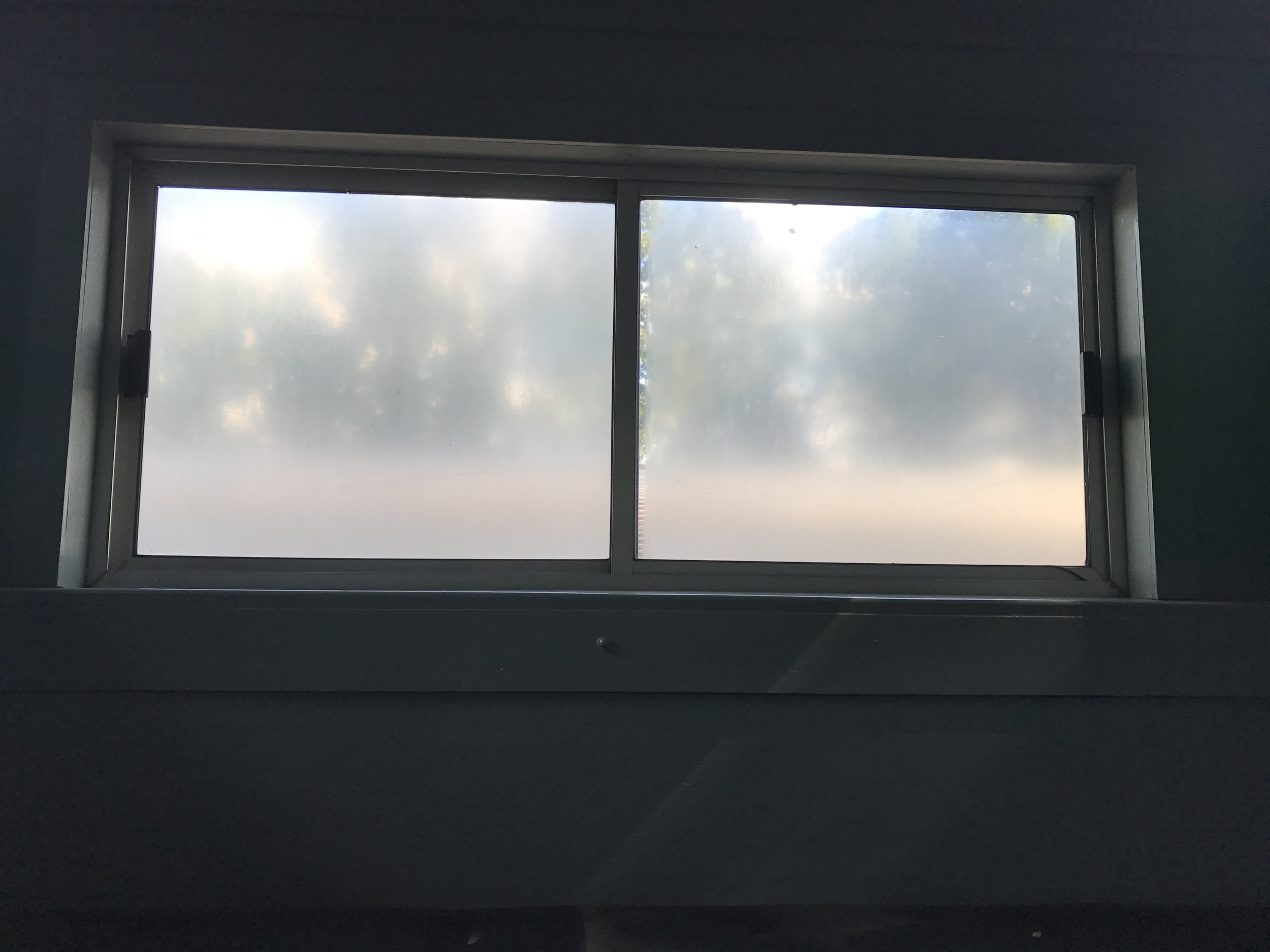 The faded Lexan windows before being replaced.