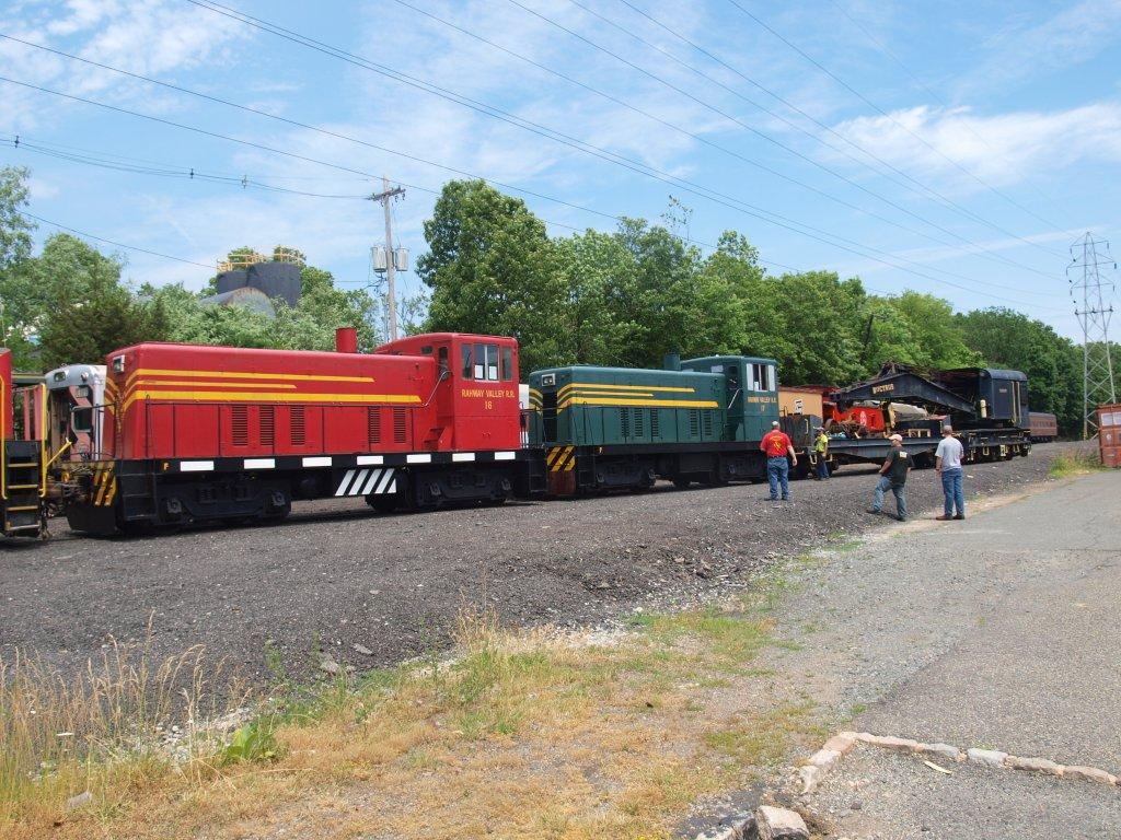 Nos. 16 and 17 are moved into storage at the Troy Hills Bulk Transload Facility, pending shipment to Boonton, NJ.  (Kevin Phalon photo)