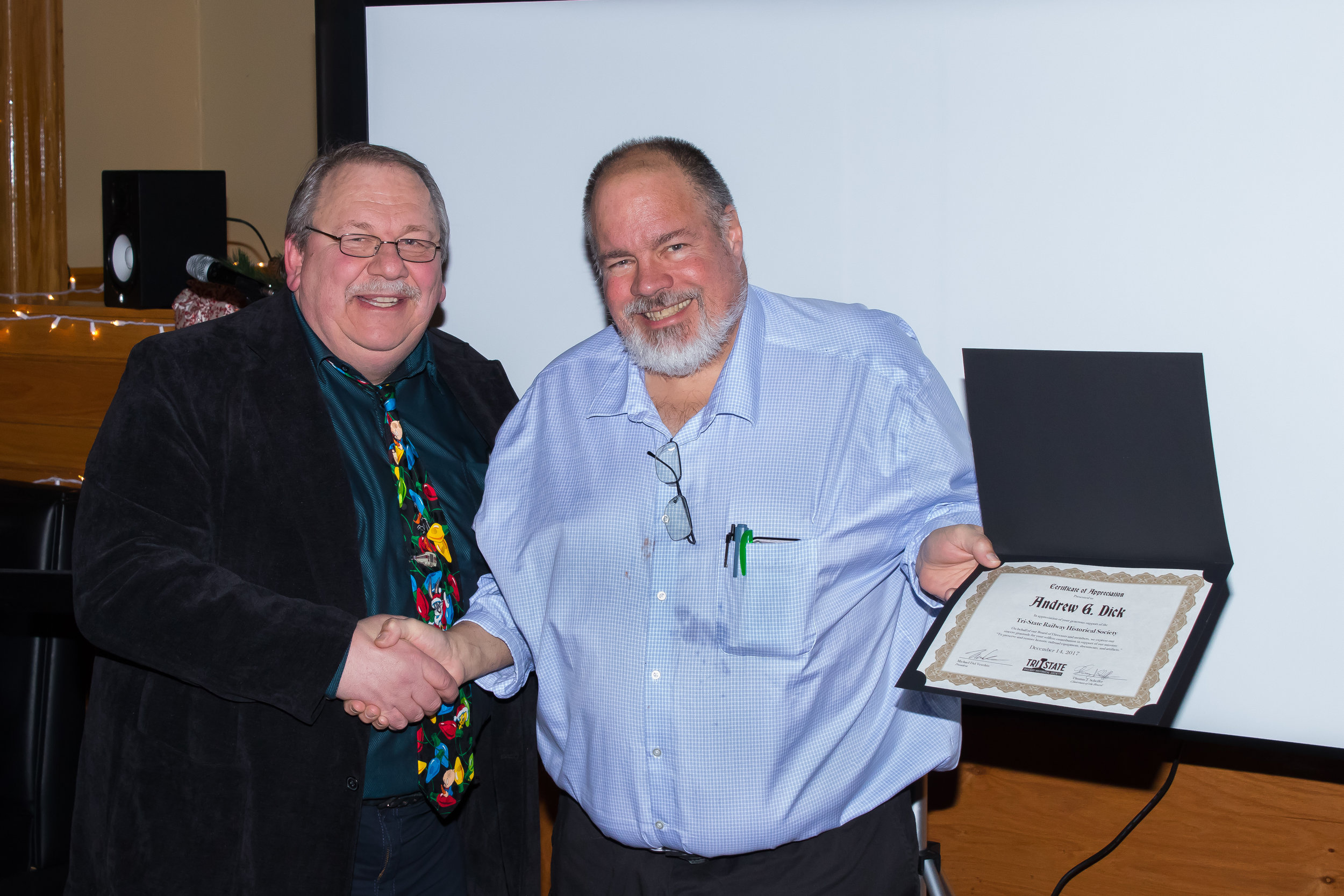 Member Andrew Dick receives a donor Certificate of Appreciation