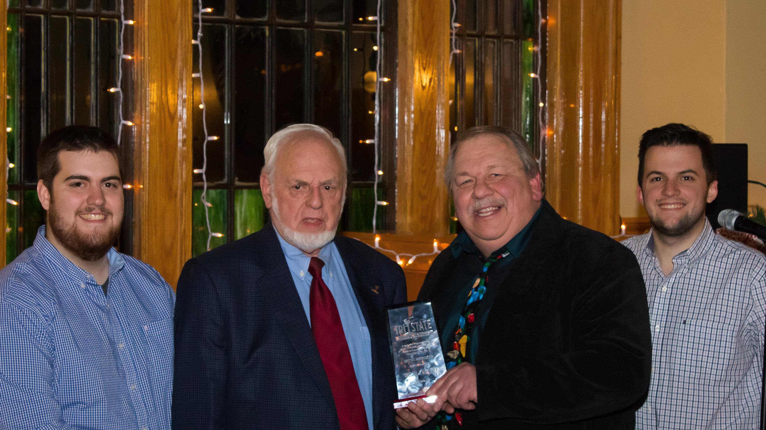 Member William McKevley receives his Lifetime Membership award. From Left to right, Vice President Kevin Phalon, William McKelvey, President Michael Del Vecchio, and Treasurer Richard King.