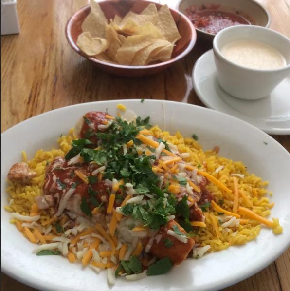 La Fonda  Salmon Enchiladas (only rice), queso, chips, & Salsa