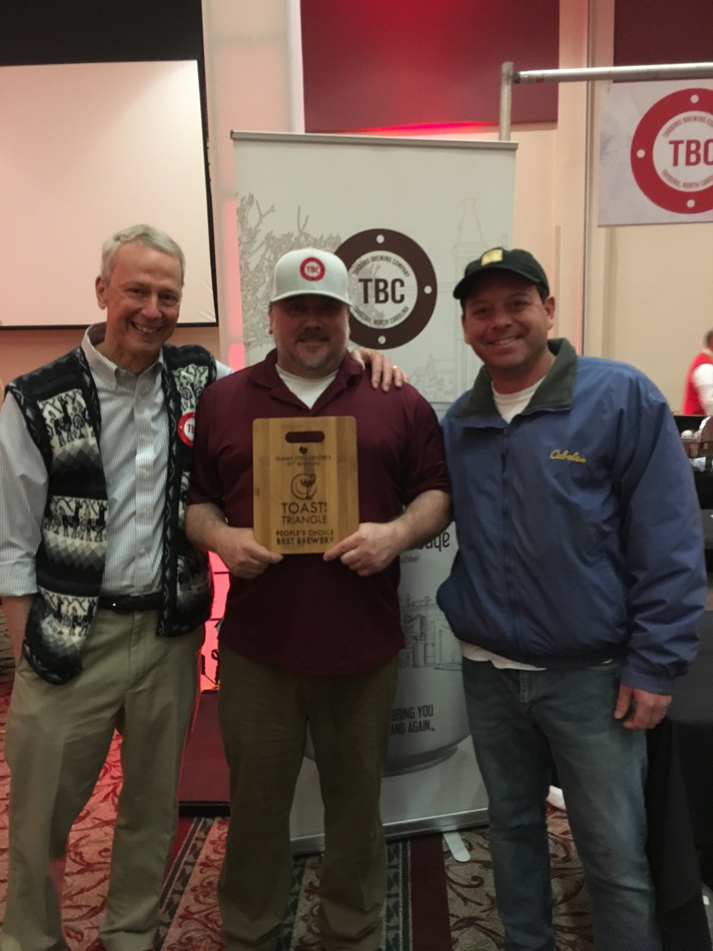 Jim Winslow, Price Miller & Stephen at Toast to the Triangle where TBC won Best Beverage for the second year in a row.