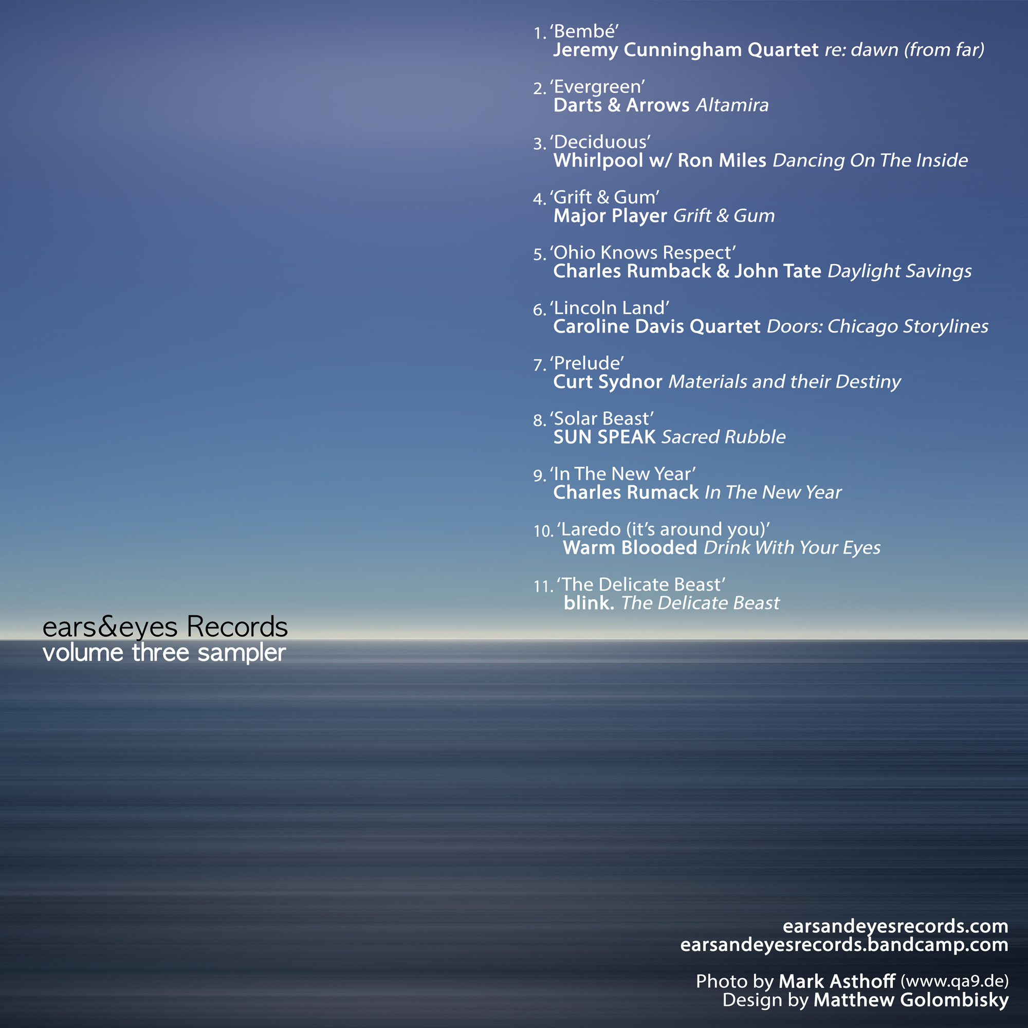 ears&eyes Records | Volume Three Sampler   buy:  MP3   CD   BandCamp   iTunes   Amazon