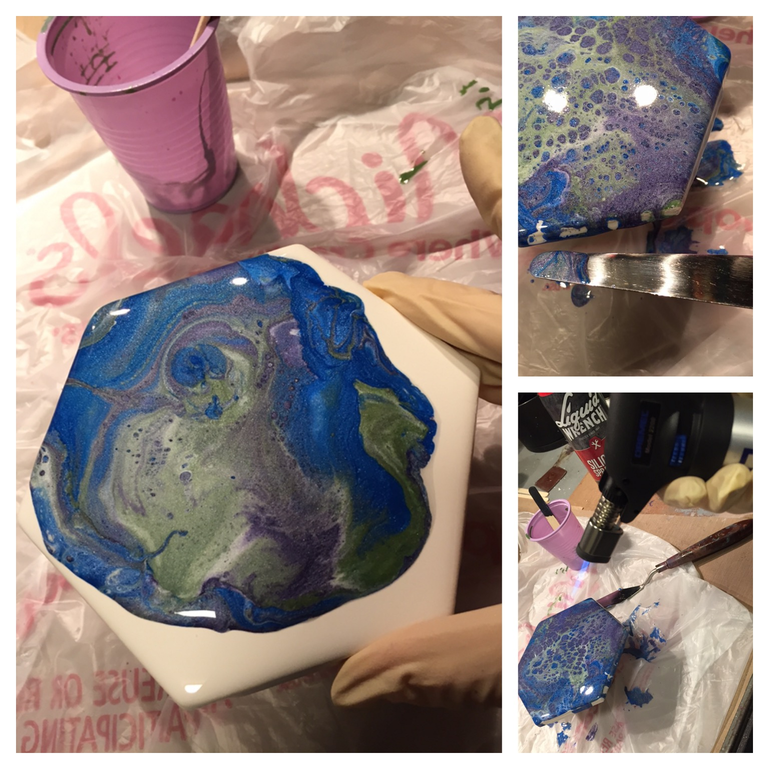 1. Cup lifted and paint is on the move. Watch for areas you want to preserve on your piece, tilting SLOWLY as needed. 2. Using a palette knife, ensure the edges are coated with paint, adding the run-off from the pour. 3. A torch is not always needed, but I gave this a blast hoping for more 'cell' action (sometimes it works, sometimes it doesn't - but I feel so uber cool using the torch!)