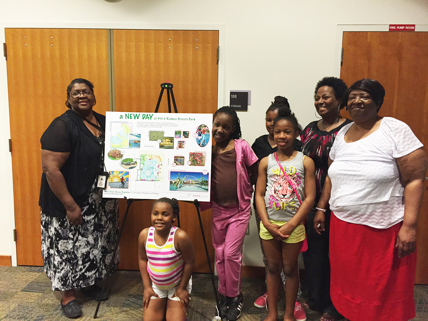 Happy community members from the West Side of Wilmington after we presented our final master plan for their park.