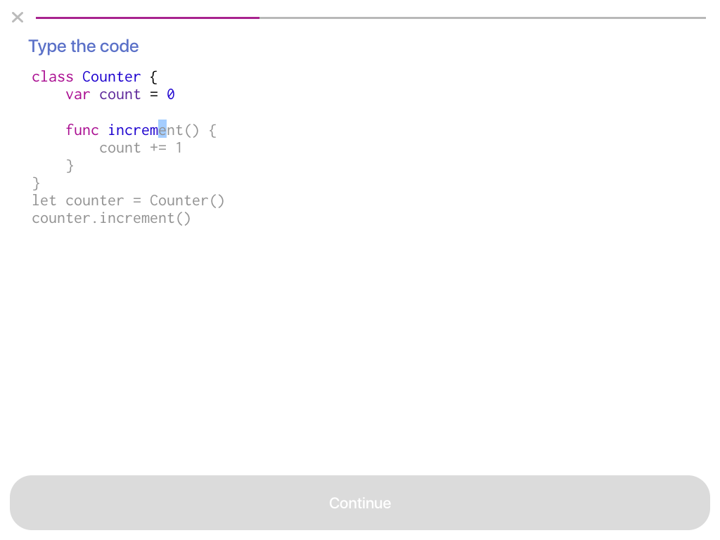 A Code Typing exercise