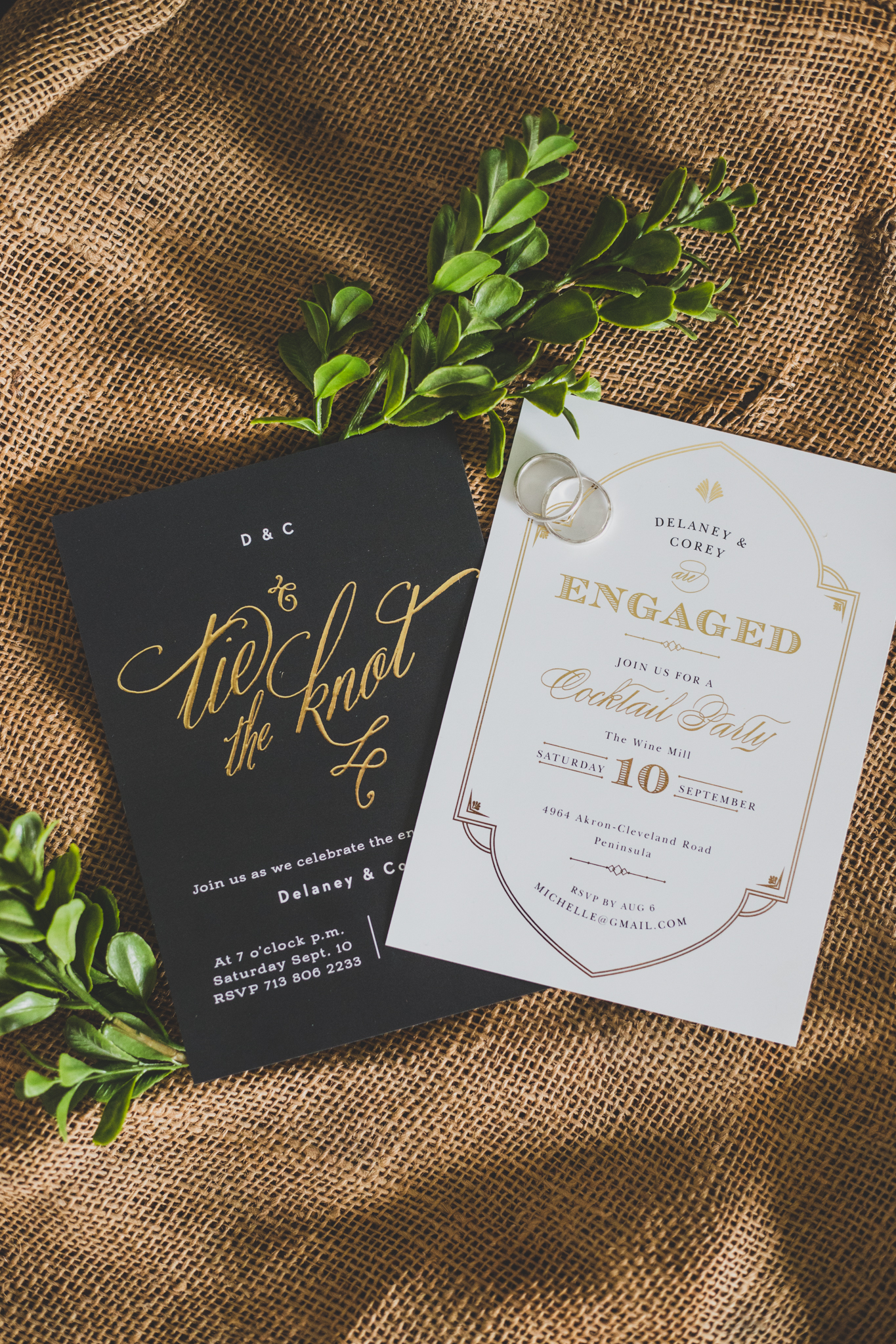 These two invitations feature gold foil detailing which my clients just love!