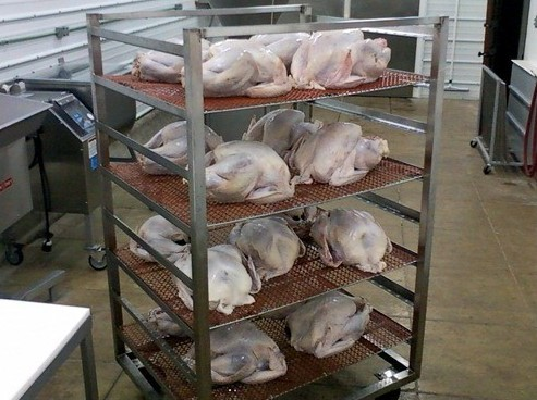 We smoked 18 turkeys this year; here they are ready to go into the smokehouse