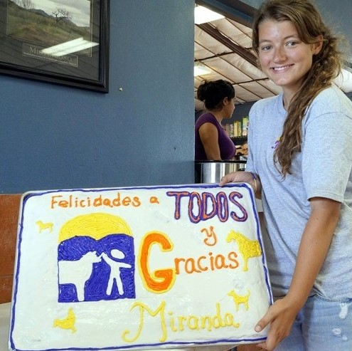 Miranda with her farewell cake revealing the gratitude of all she affected.