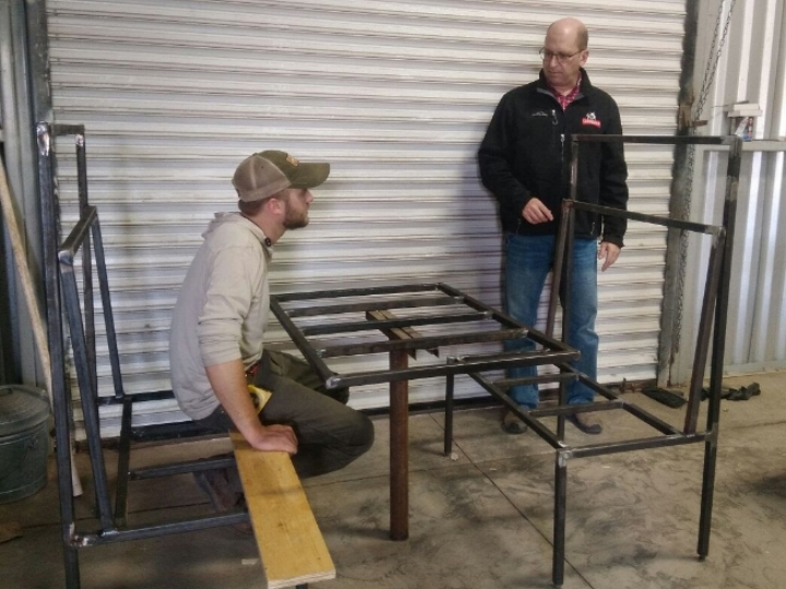 Booths are being made by Adam Kaeb who is visiting in Magdalena for a few weeks.