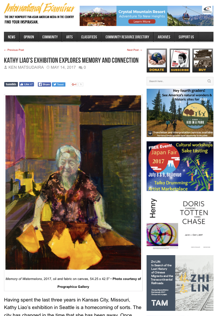 """Press on  Lingering Presence exhibition at Prographica/KDR Gallery in Seattle!   """"Kathy Liao's exhibition explores memory and connection"""" by Ken Matsudaira"""